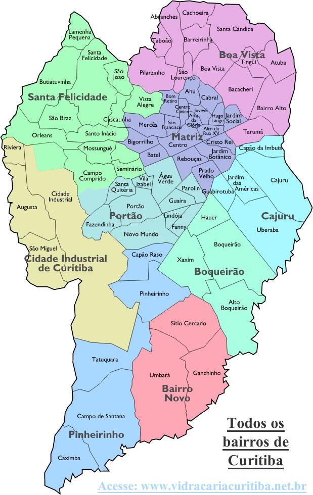 Lista de todos os bairros de Curitiba